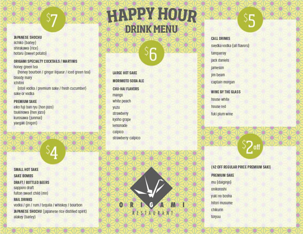 happy hour at origami uptown � origami restaurant