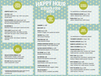 Origami Happy Hour Food Menu