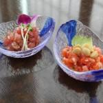 Lomi Lomi Salmon and Ahi Poki at Origami Uptown