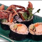 SPIDER ROLL -- Soft shell crab, Burdock, cucumber and Kaiware (5 pieces)... $14.25
