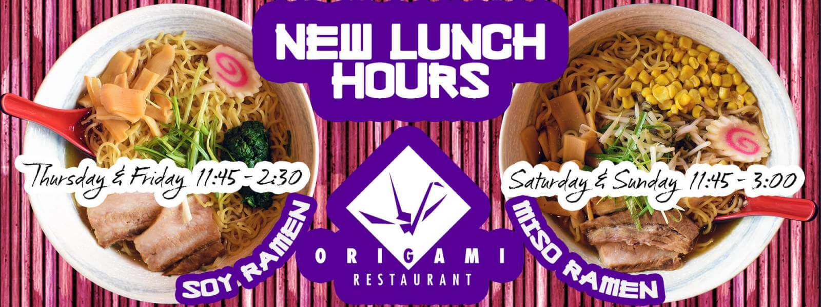 New Lunch Hours At Origami