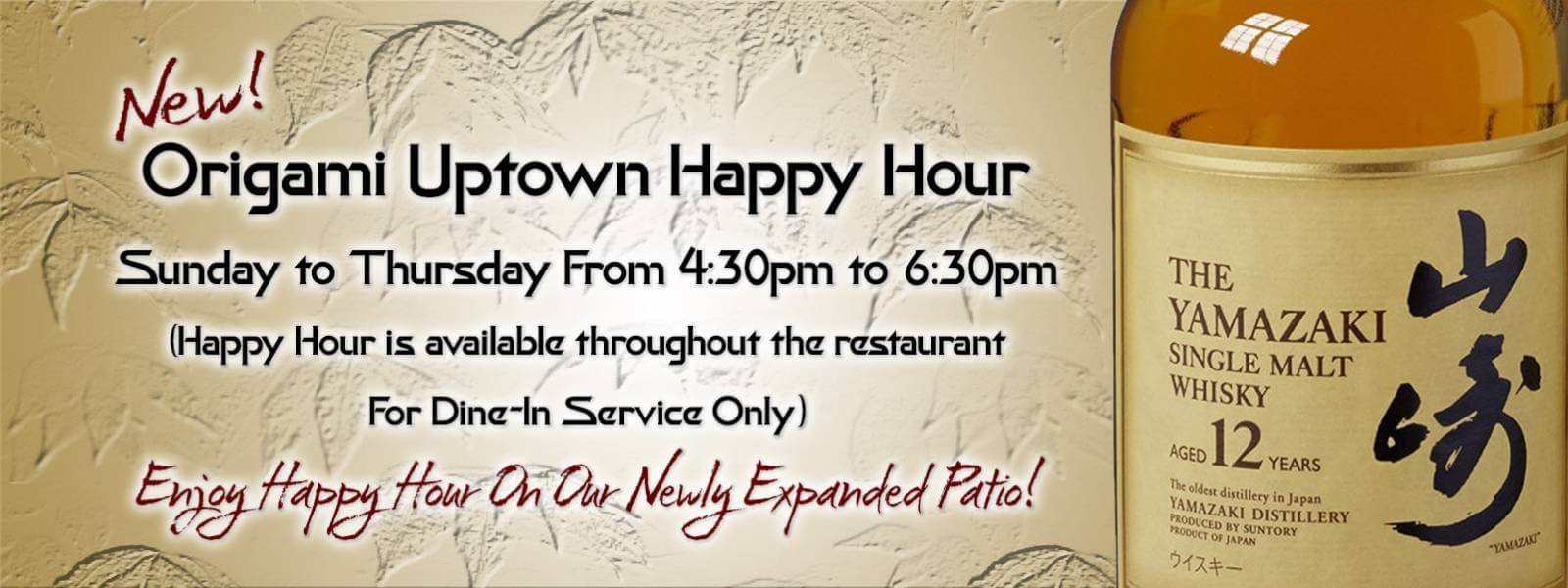 Happy Hour at Origami Uptown